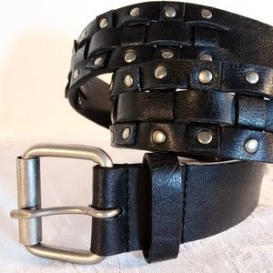 "42"" Wide Vegan Leather Black Woven Belt"